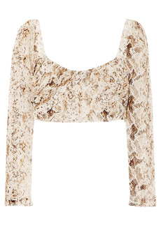 Nicholas Woman Cropped Gathered Snake-print Silk-chiffon Top Brown