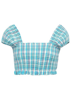 Nicholas Woman Cropped Shirred Checked Cotton Top Turquoise