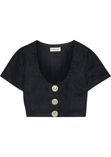 Nicholas Woman Lou Pleated Linen Cropped Top Black