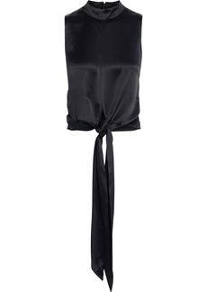 Nicholas Woman Rima Tie-front Satin Top Black