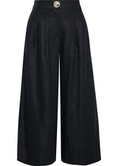Nicholas Woman Varca Pleated Linen Culottes Black