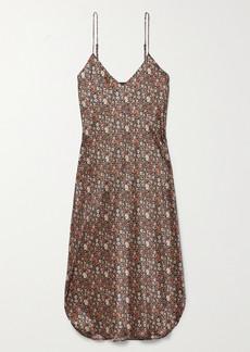 Nili Lotan Floral-print Silk-satin Midi Dress