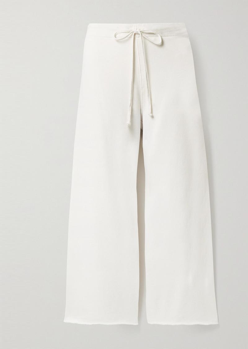 Nili Lotan Kiki Cropped Distressed Cotton-jersey Track Pants