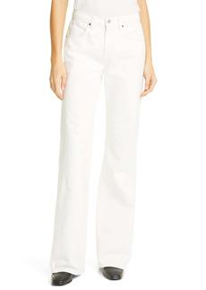 Nili Lotan Celia High Waist Wide Bootcut Jeans (Cream)