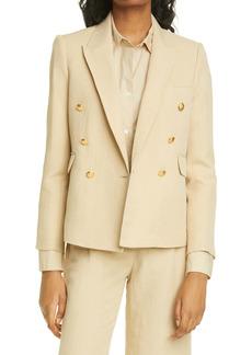 Nili Lotan Henry Double Breasted Linen & Silk Jacket