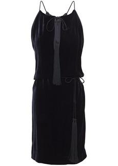 Nili Lotan Woman Jamie Cutout Tassel-trimmed Velvet Mini Dress Midnight Blue
