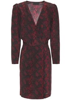 Nili Lotan Woman Pamela Wrap-effect Snake-print Silk Crepe De Chine Mini Dress Burgundy