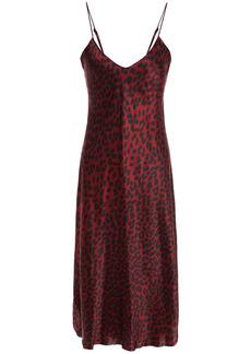 Nili Lotan Woman Snake-print Silk-charmeuse Slip Dress Black