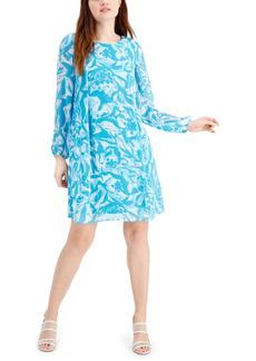 Nine West Printed Chiffon Shift Dress