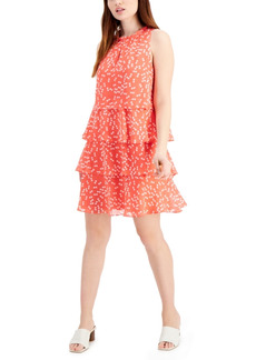 Nine West Printed-Chiffon Tiered A-Line Dress