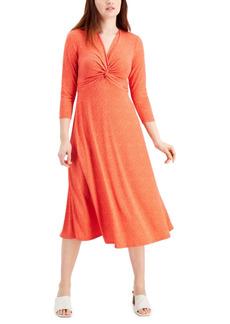 Nine West Printed Knot-Front Midi Dress