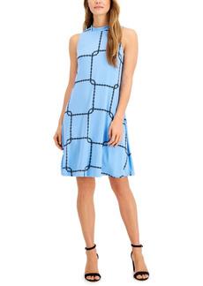 Nine West Printed Mock Neck Dress