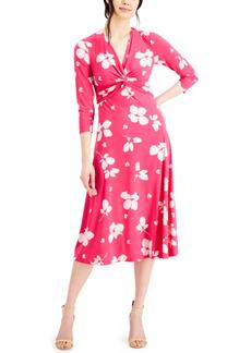 Nine West Printed Twist-Front Midi Dress