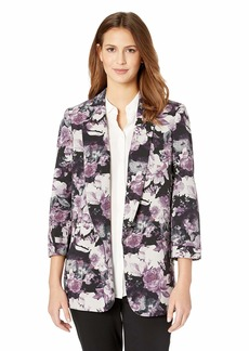 NINE WEST Women's 3/4 ROLL TAB Sleeve Notch Collar Crepe KISS Front Jacket  M