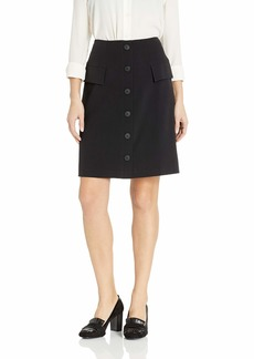 NINE WEST Women's 6 Button Front Detail Stretch Skirt with Side Panels