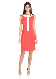 Nine West Women's Color Block Dress W/Grommets On Jewel Neckline