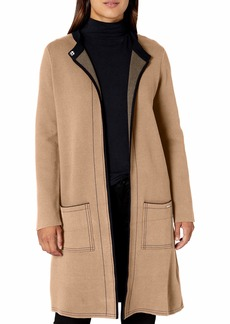 NINE WEST Women's Double FACE Sweater Coat with Patch Pockets  S