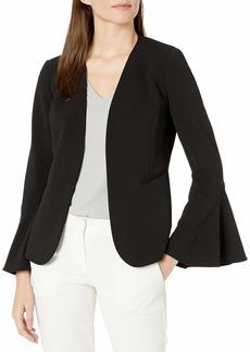 NINE WEST Women's Flounce Sleeve Crepe Fly Away Jacket