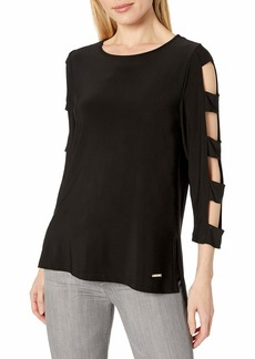 NINE WEST Women's Knit TOP with Cutout Sleeves