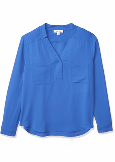 NINE WEST Women's Long Sleeve Blouse with Patch Pockets and Topstitch Detail Mariner BLUE-N47 L