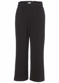 NINE WEST Women's Misses Drapey Crepe Pull ON Cropped Pant with Ruffle at WAISTEBAND BLACK-169 XL