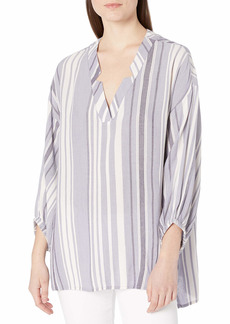 NINE WEST Women's Norma High Low Crinkle Popover Top