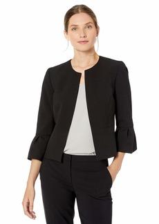 NINE WEST Women's Plus Size Bell Sleeve Open Front Crepe Jacket  22W