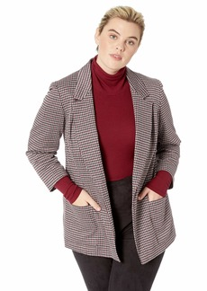 NINE WEST Women's Plus Size Notch Collar KISS Front Jacket W/Two Pockets  1x