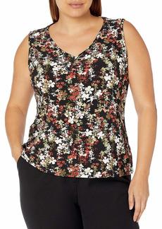 NINE WEST Women's Plus Size Printed Knit V Neck Tank
