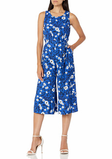 NINE WEST Women's Printed Crepe Belted Crop Jumpsuit Twilight Blue MULTI-M95