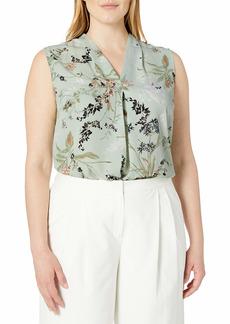 NINE WEST Women's Size Plus Printed Floral V Neck Blouse
