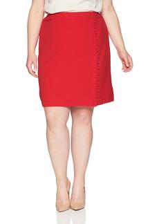 NINE WEST Women's Size Plus Textured Crepe A-LINE WRAP Skirt Button Detail  W