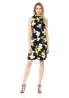 NINE WEST Women's Sleeveless Mock Neck a-line Dress