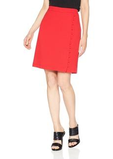 NINE WEST Women's Textured Crepe A-LINE WRAP Skirt Button Detail