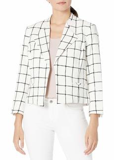 NINE WEST Women's Windowpane Short Wing Lapel Jacket Lily/Black-AR0 M