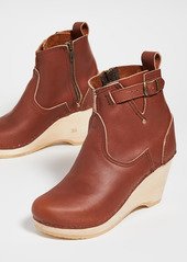 No.6 Leather Wedge Buckle Boots