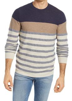 Men's Big & Tall Nordstrom Stripe Cotton & Linen Crewneck Sweater