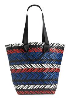 Nordstrom Diagonal Stripe Woven Tote - Blue