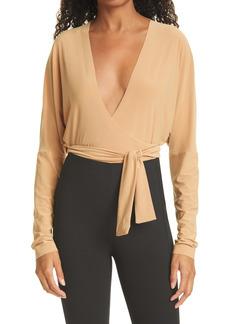 Norma Kamali Dolman Long Sleeve Wrap Front Bodysuit