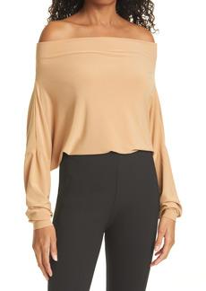 Norma Kamali Off the Shoulder Long Sleeve Bodysuit