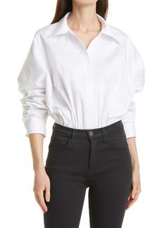 Norma Kamali Oversize Boyfriend Collared Cotton Bodysuit