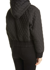 Norma Kamali Quilted Hooded Bomber Jacket