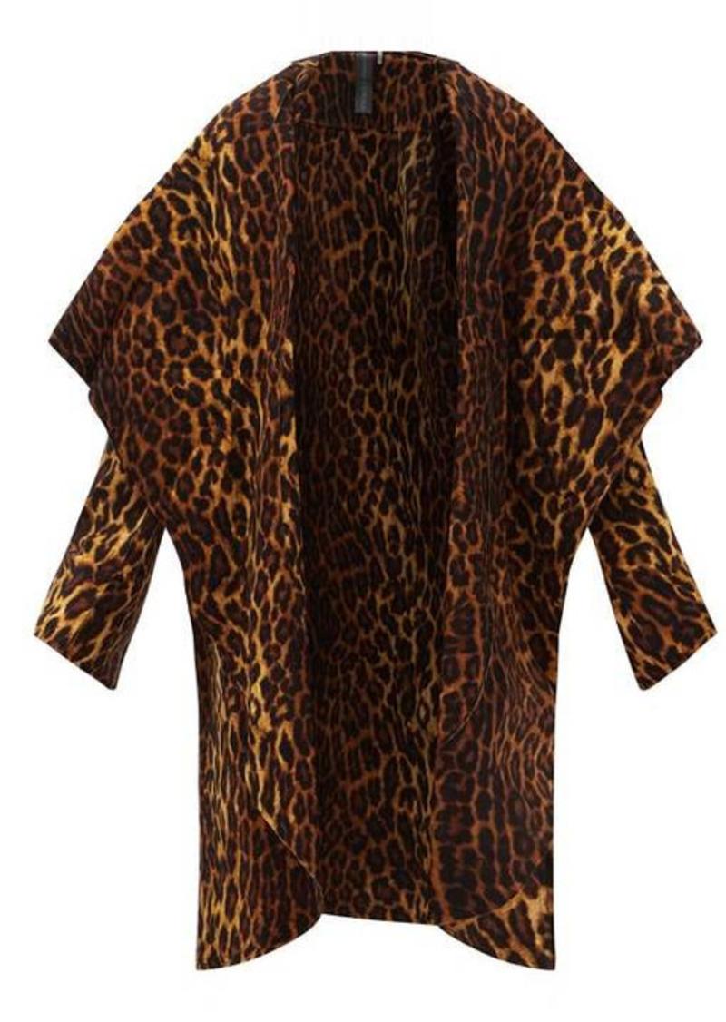 Norma Kamali Shawl-collar leopard-print jersey coat