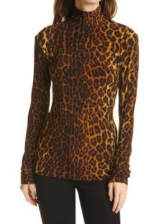 Norma Kamali Slim Fit Leopard Print Long Sleeve Turtleneck Top