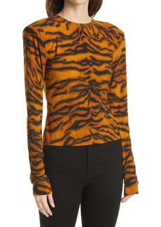 Norma Kamali Tiger Print Long Sleeve Top