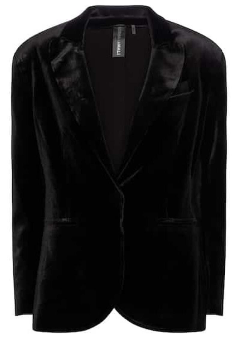 Norma Kamali Single-breasted velvet blazer