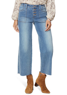 NYDJ Teresa Button Fly Raw Hem Ankle Wide Leg Jeans (Clean Clayburn)