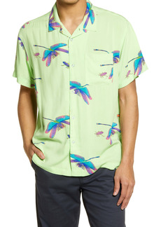 Obey Dragonfly Regular Fit Short Sleeve Button-Up Camp Shirt