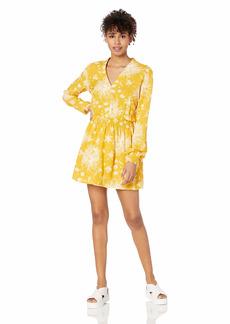 OBEY Women's Annette LS Casual Dress mustard multi