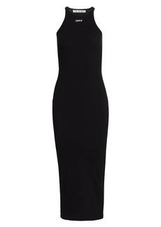 Off-White Basic Ribbed Midi Dress